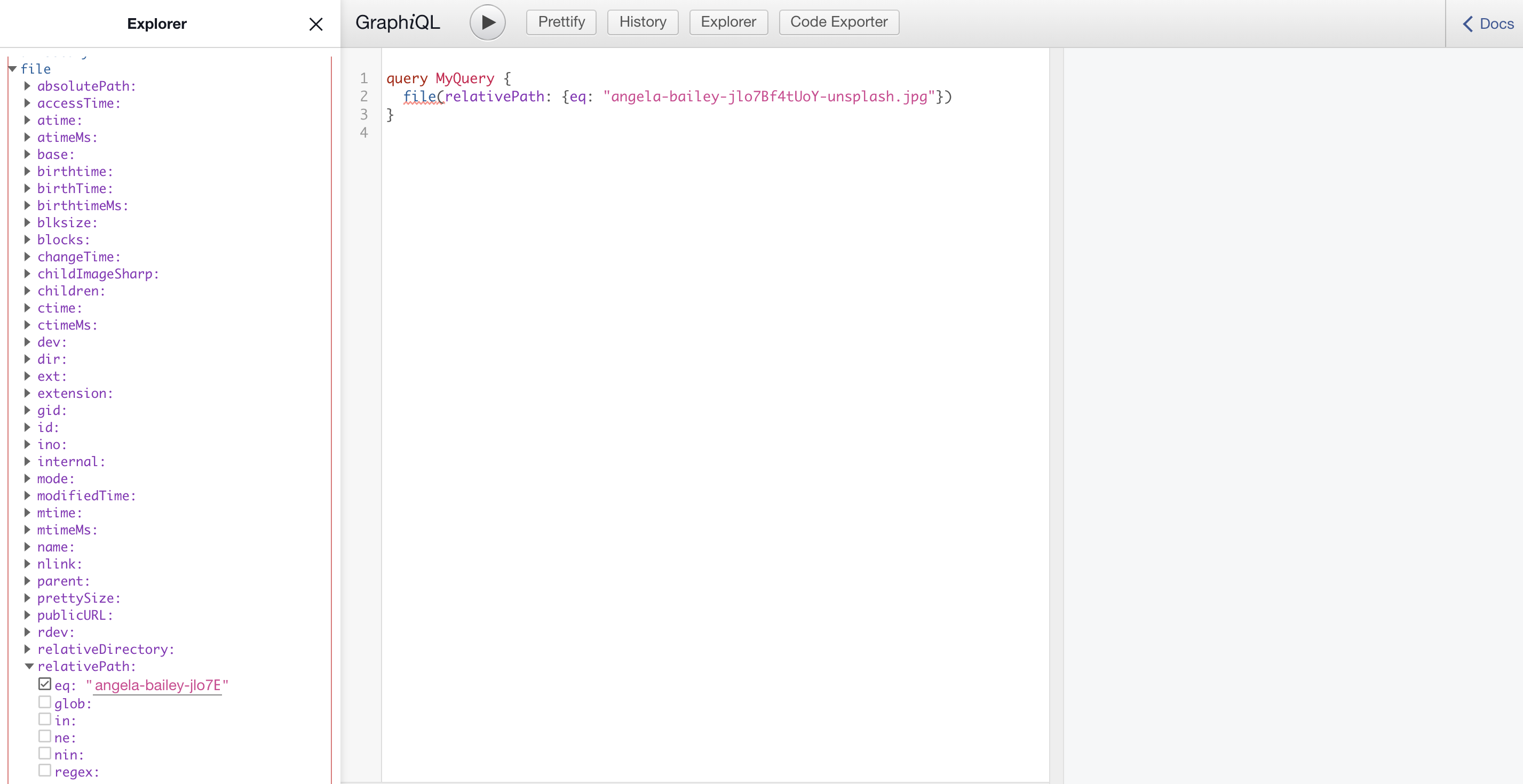 GraphQL IDE showing the query to locate the image in the filesystem