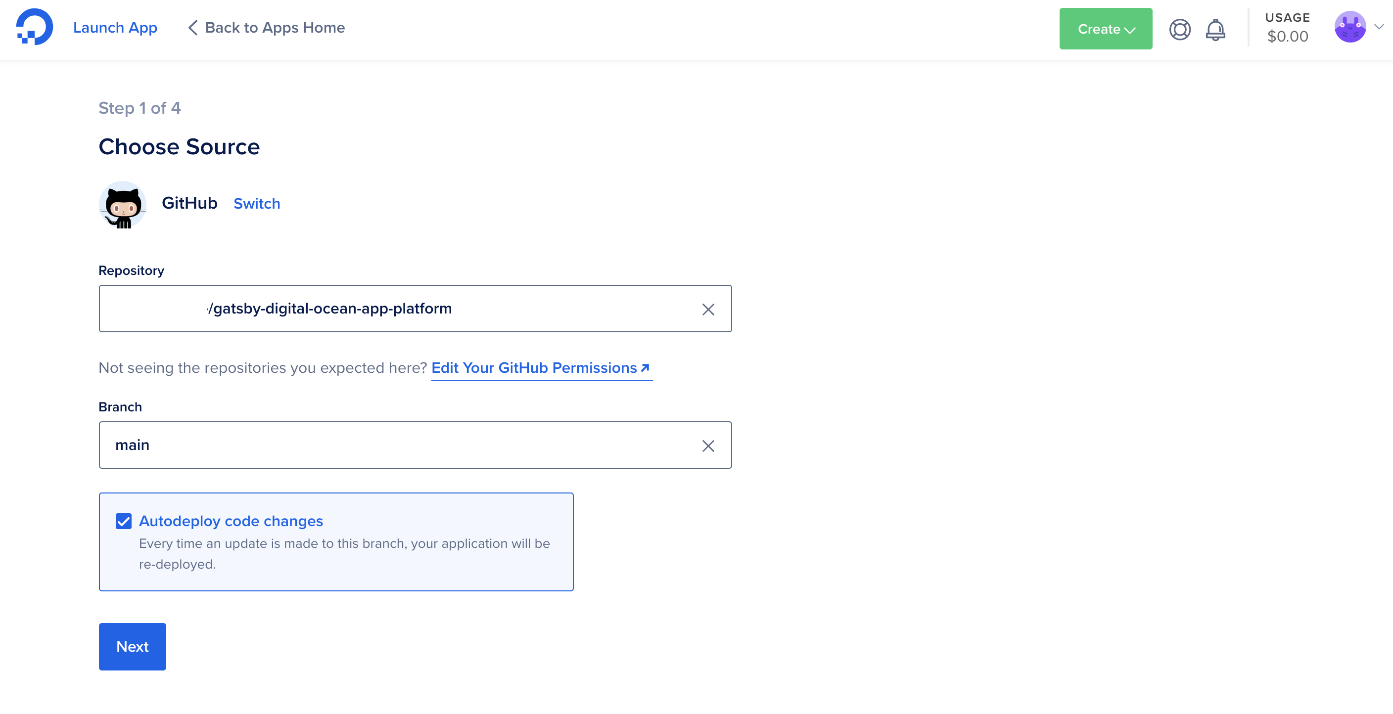 Selecting your GitHub repository on the DigitalOcean website