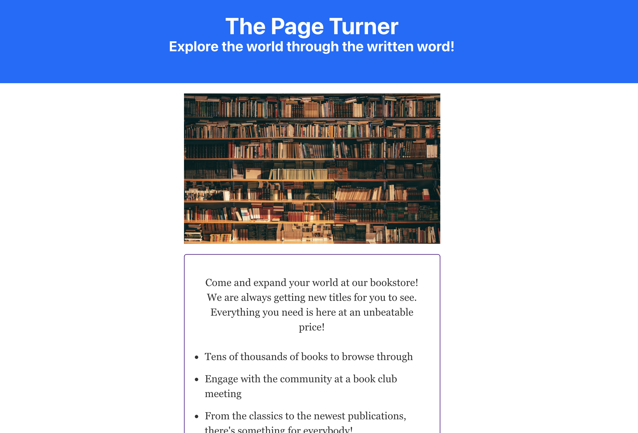 Resulting landing page from following this tutorial, displaying the header, hero image, and sales pitch