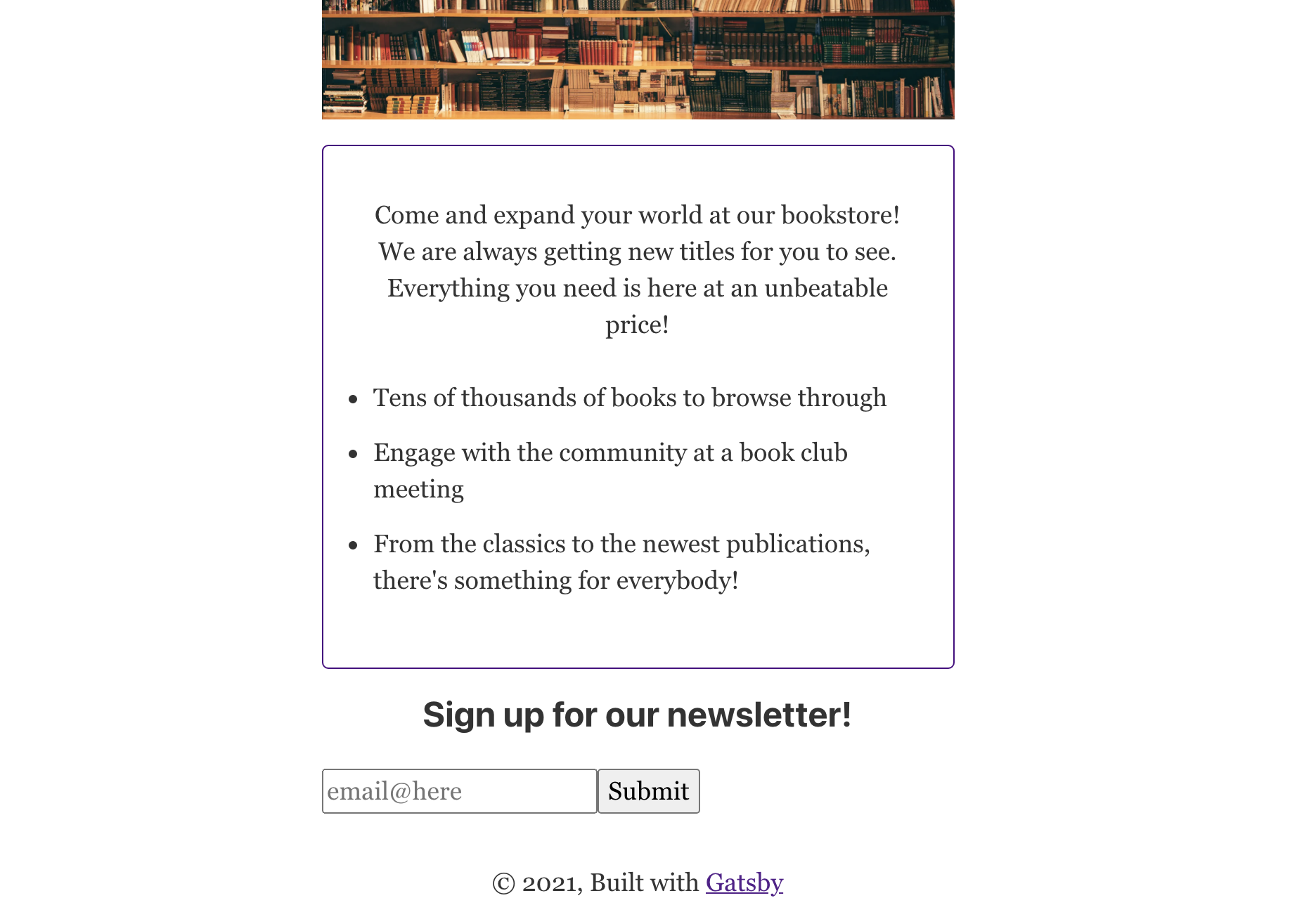 Email signup button rendered below the feature list on the landing page.