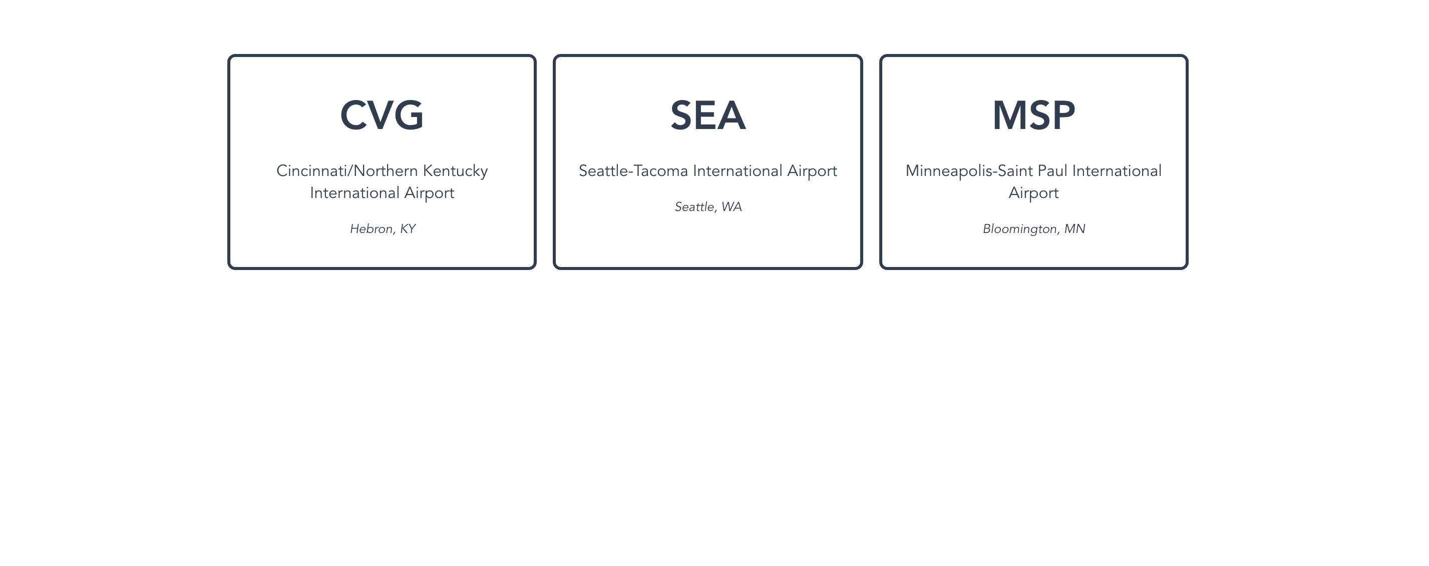Three cards displaying information about airports, retrieved from the data/airports.js file.