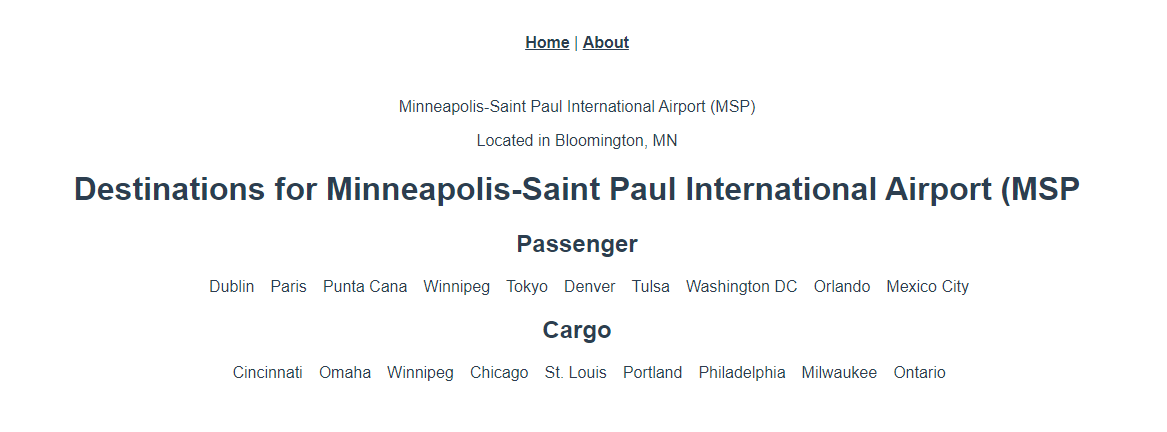A page rendered with a list of passenger and cargo destinations for Minneapolis-Saint Paul International Airport.