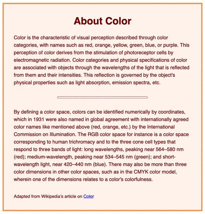 Brown text in a sans serif font, with a lighter tan background and border.