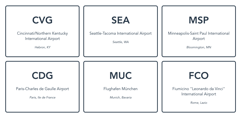 US airport data rendered as cards, followed by European airport data rendered in the same way.
