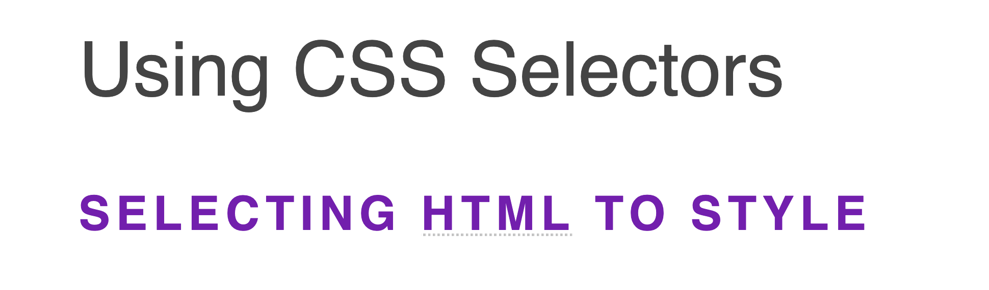 Short bold uppercase headings in purple with an abbreviation text with a light gray dotted underline.