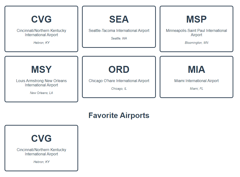 Vue airport app with a list of favorite airports that includes the CVG airport card.