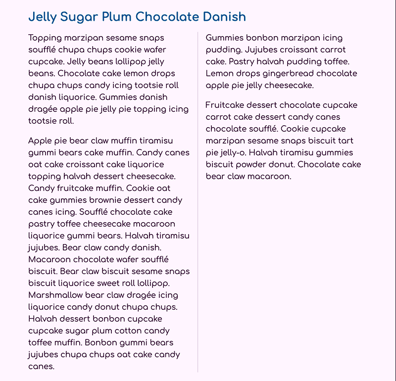 Two paragraphs of text, each in a different column, with a light purple vertical line between.