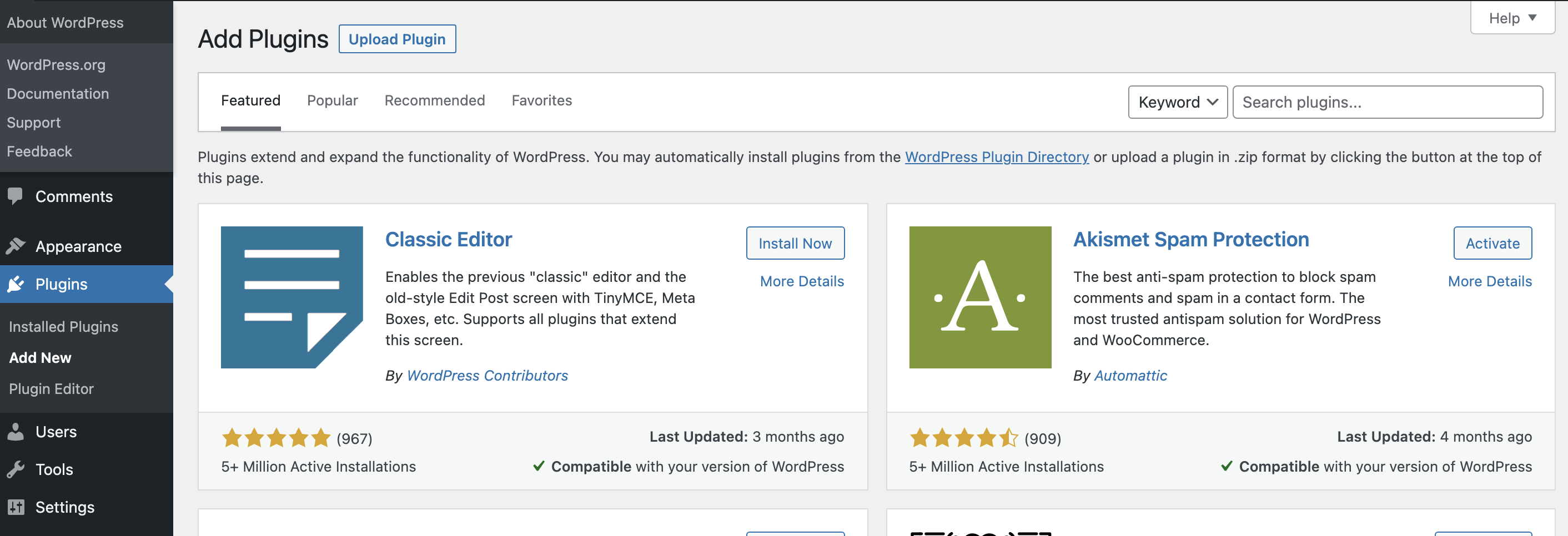 Screenshot showing the Add New link selected in the Plugins sidebar in WordPress Admin
