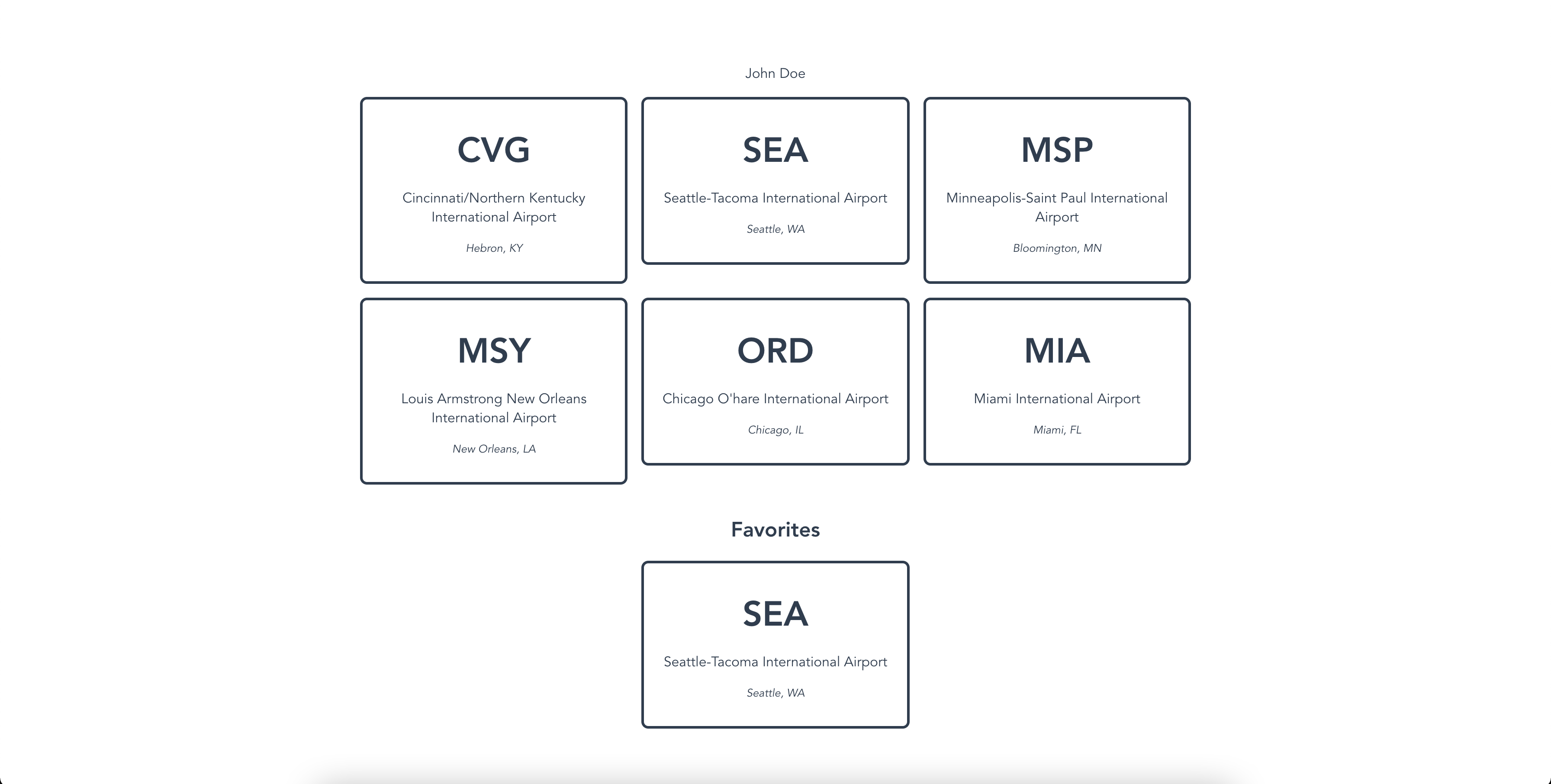 A favorite airport added to the favorite airports section after a Vuex mutation was executed.