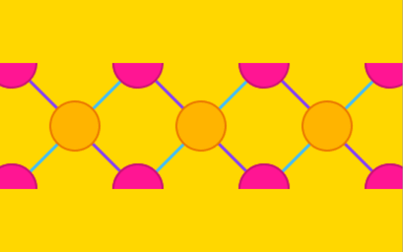 Repeating pattern across the center of the image consisting of orange circles and pink half circles connected by blue and purple lines on a yellow background