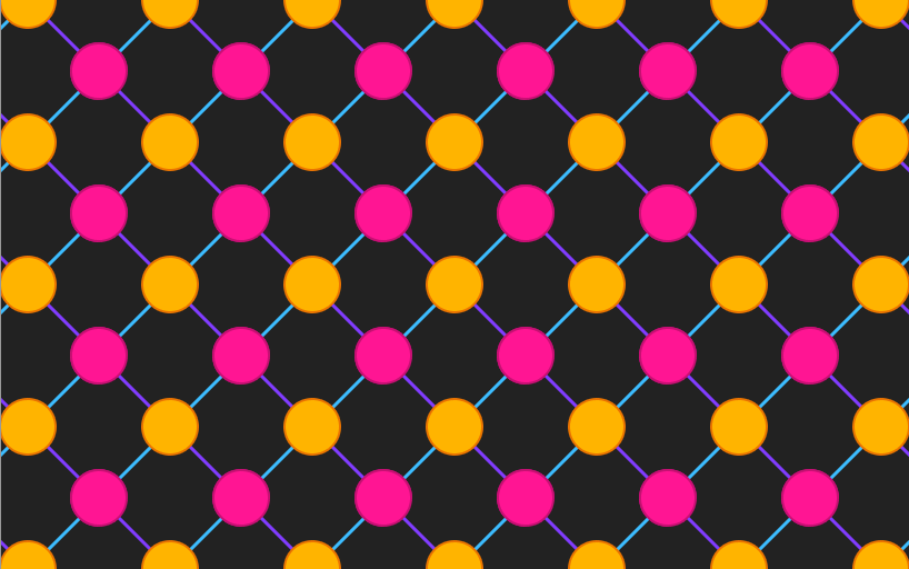 Repeating pattern along the top of the image consisting of orange and pink circles connected by blue and purple lines on a dark gray background
