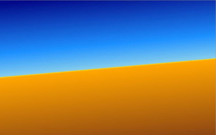 Gradient of dark blue to light blue with an immediate change to yellow and orange fading to a light brown, resembling a desert horizon.