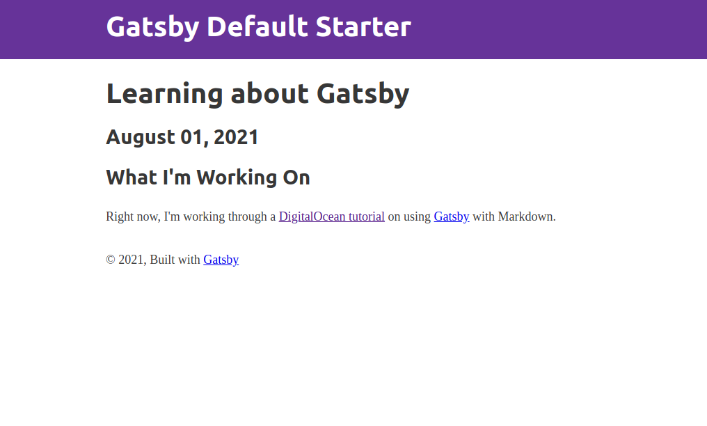 """Blog post titled """"Learning about Gatsby"""", a date of """"August 01, 2021"""", and a description of how the blog post author is learning Gatsby."""