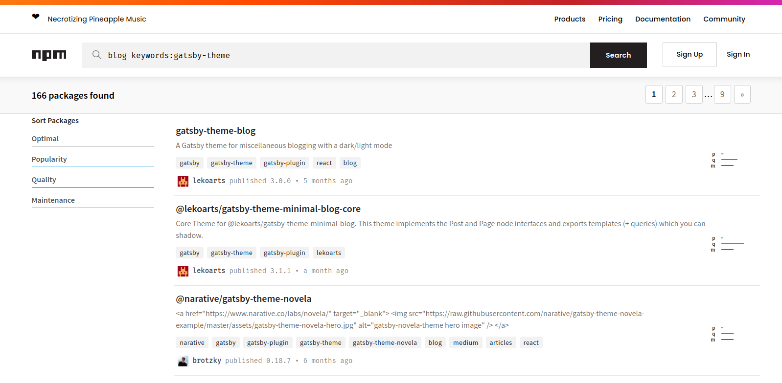 """npm results page for the """"blog keywords:gatsby-theme"""" search. """"gatsby-theme-blog"""" is the first package."""
