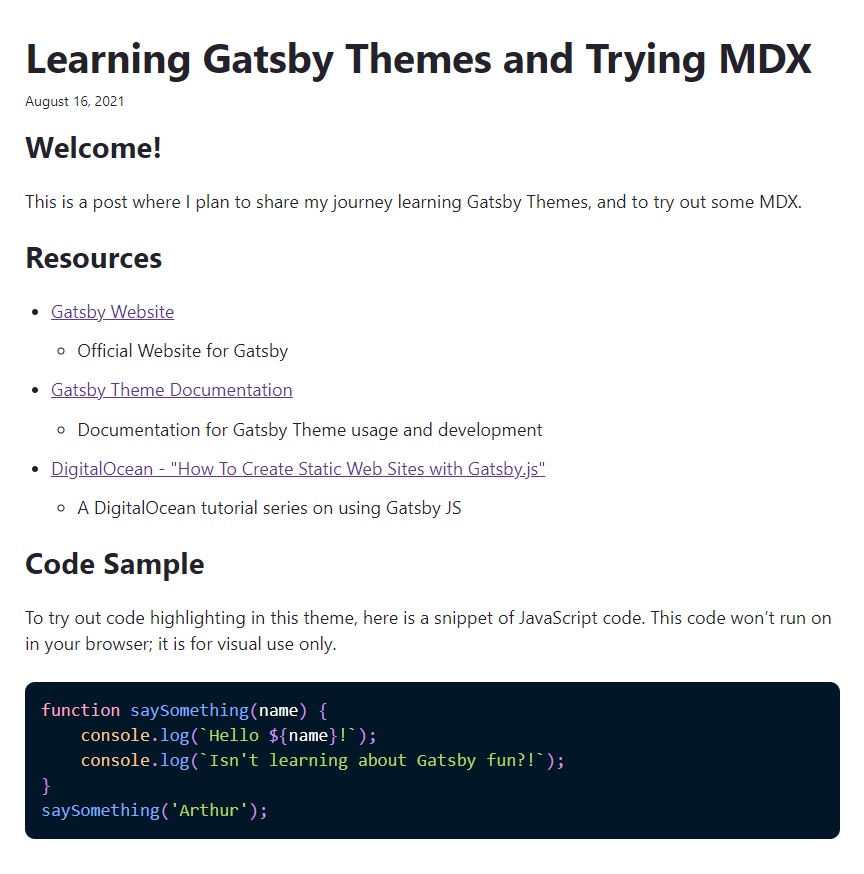 The tutorial's MDX blog post, built with Gatsby and rendered in the browser.