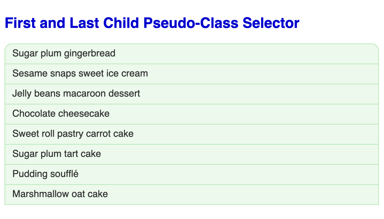 Large bold blue headline followed by an unordered list of eight items each in a light green box with a green border. The first item in the list has rounded corners.