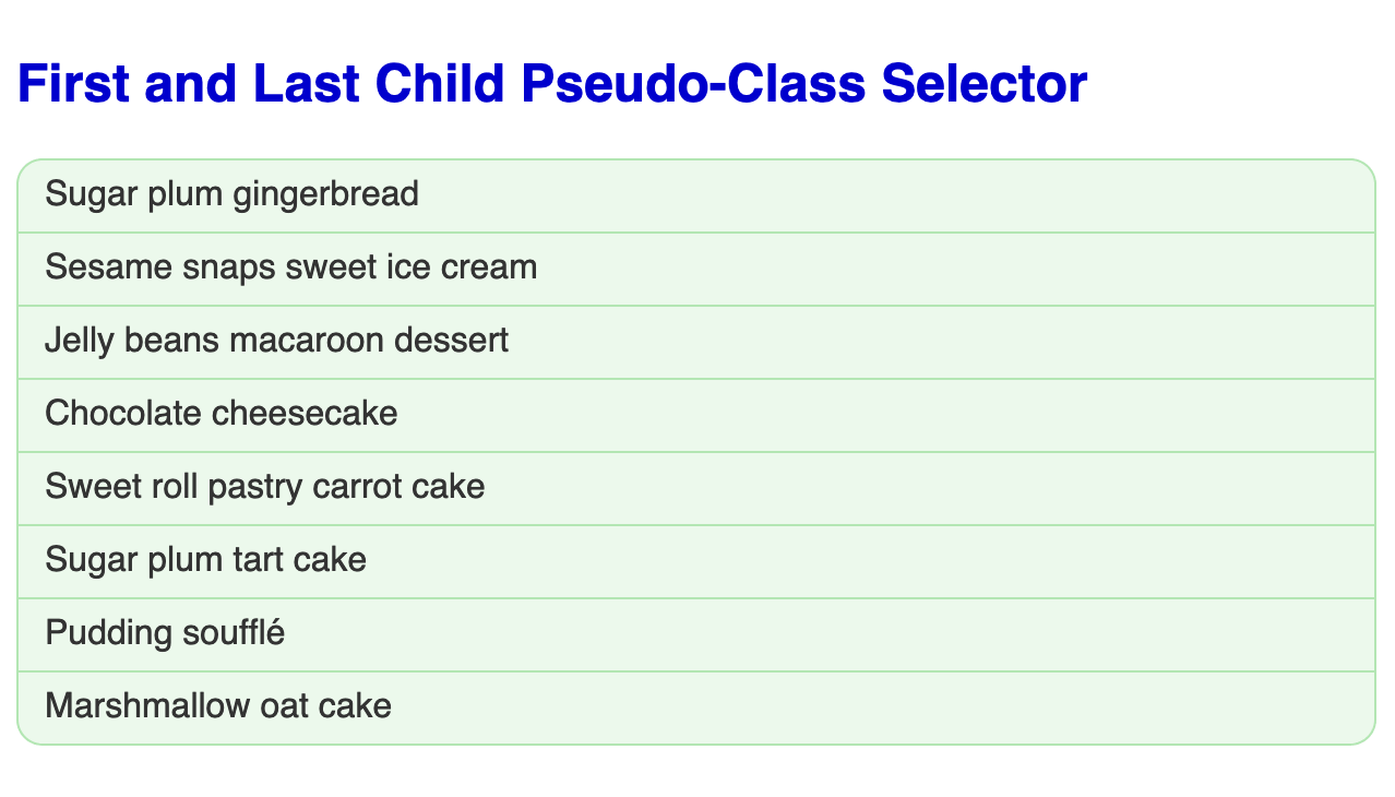 Large bold blue headline followed by an unordered list of eight, items each in a light green box with a green border. The first and last items in the list have rounded corners.