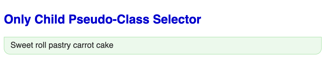 Large bold blue headline followed by an unordered list of one item with a light green background, green border, rounded corners on the bottom of the shape.