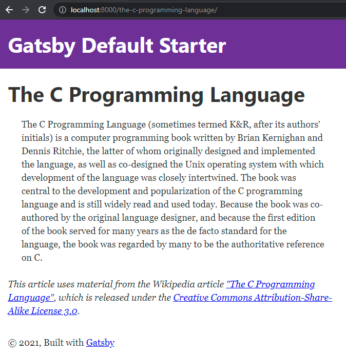 """Screenshot showing a book listing page generated for """"The C Programming Language"""""""