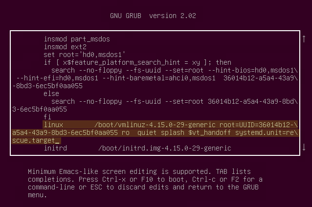 Editing the GRUB Configuration File to Enable Maintenance Mode