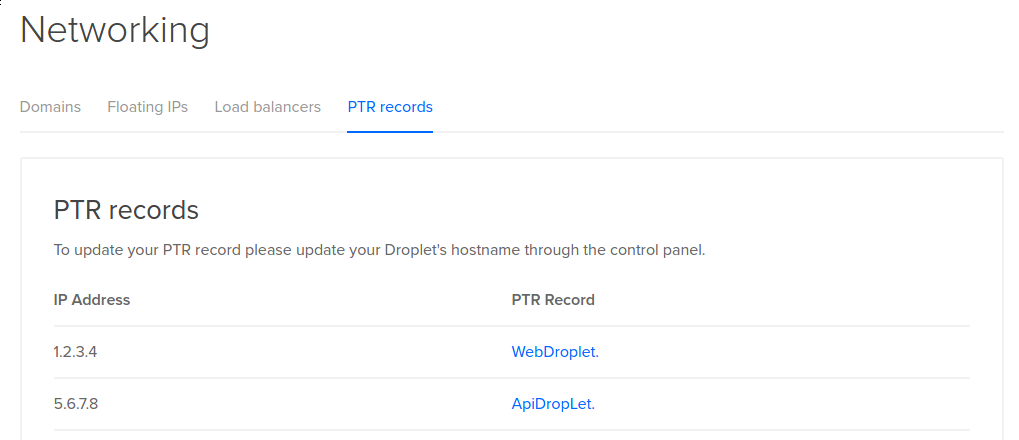 DigitalOcean DNS PTR records