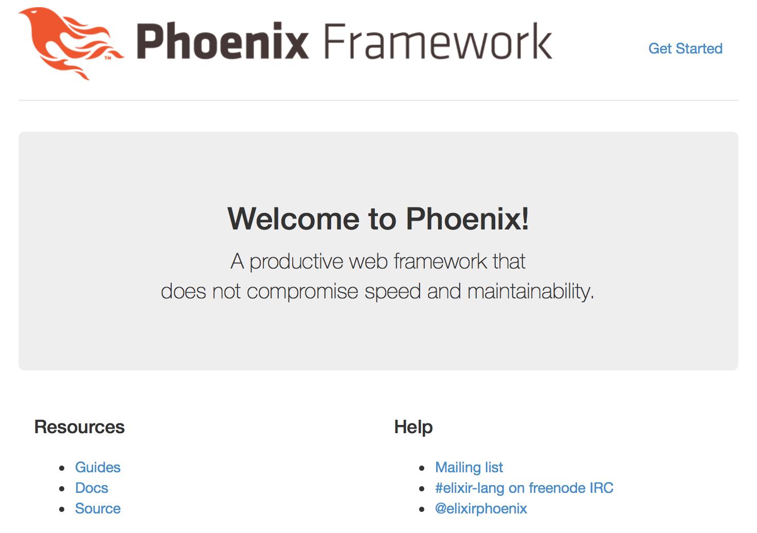 Default Elixir/Phoenix page