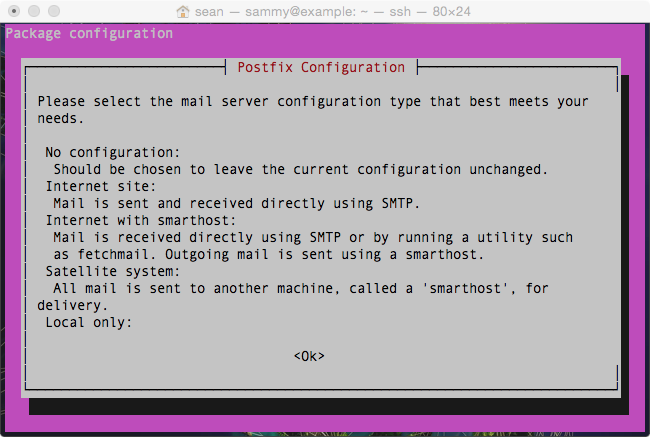 Postfix Configuration (first part): If you have a screen with information but no options to select, go past this screen