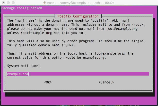 Enter Postfix FQDN