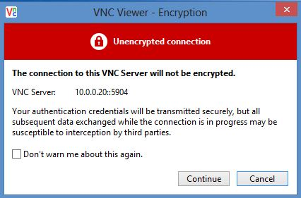 VNC encryption warning