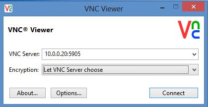 ConnectiNg to CentOS 7 server with RealVNC viewer as janevnc