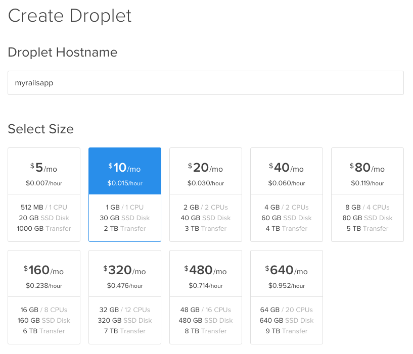 Droplet Hostname and Size