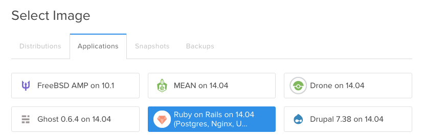 Select Ruby on Rails One-Click Application Image