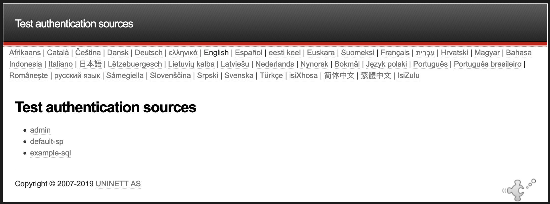 La liste des sources d'authentification configurées