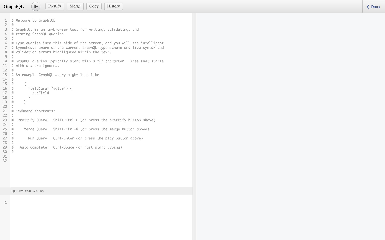 Screenshot of GraphiQL web interface
