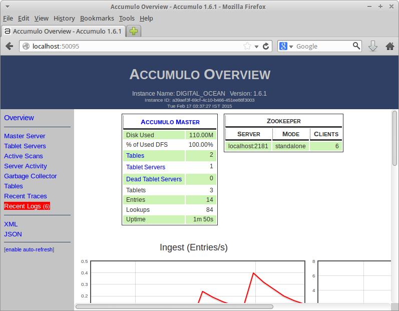 Accumulo Web Interface