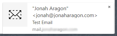 Email notification popup