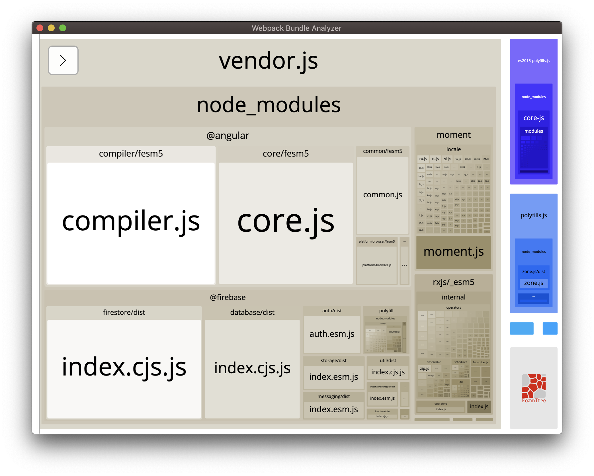 Screenshot of webpack Bundle Analyzer analysis. Various modules are depicted in different-sized boxes. Some modules that are not directly used for Firebase have large boxes.