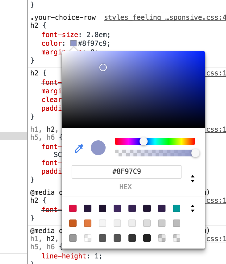Chrome DevTools color picker