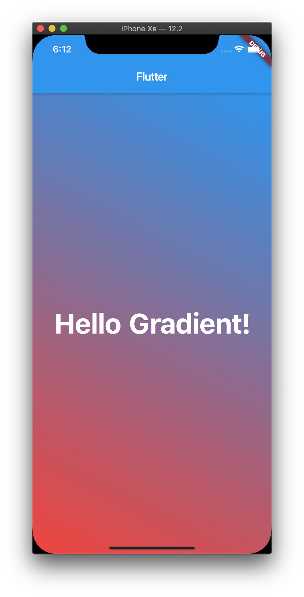 Screenshot of the Flutter app running in an emulator with a linear gradient starting at the top of the screen with blue and gradually transitioning to red at the bottom of the screen.