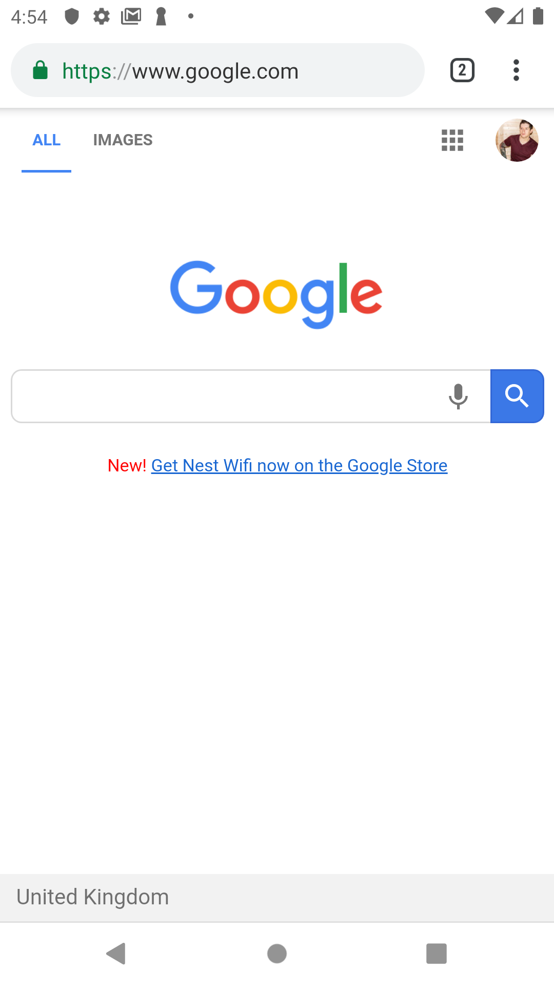 Screenshot of the url_launcher launching a browser with Google.