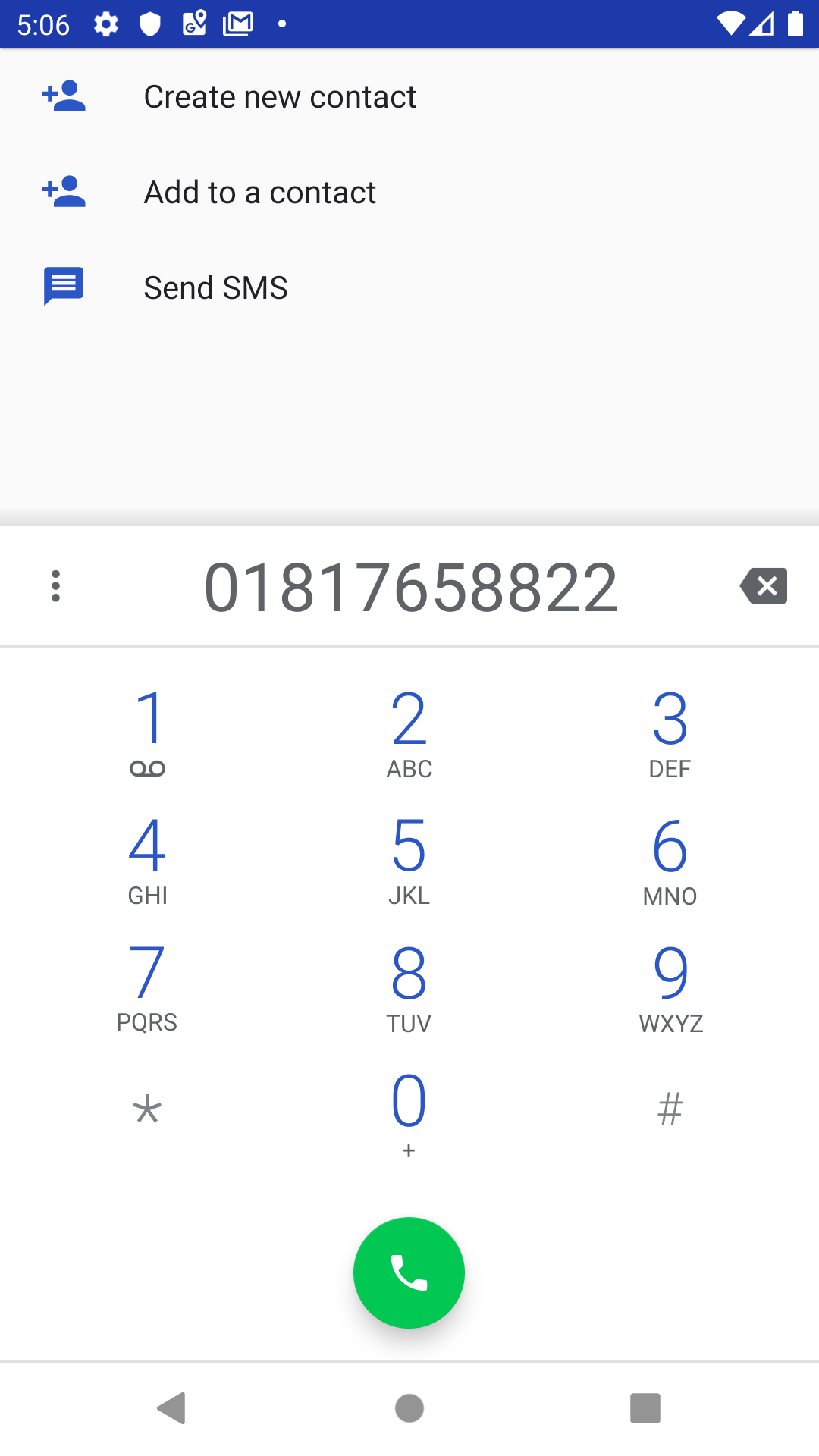 Screenshot of the url_launcher launching a phone number with prompts for contact and SMS.