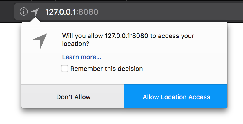 Geolocation permission widget