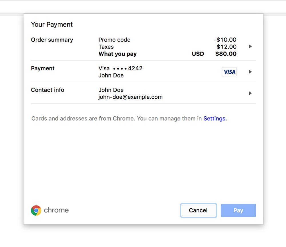 The payment UI in Chrome 60