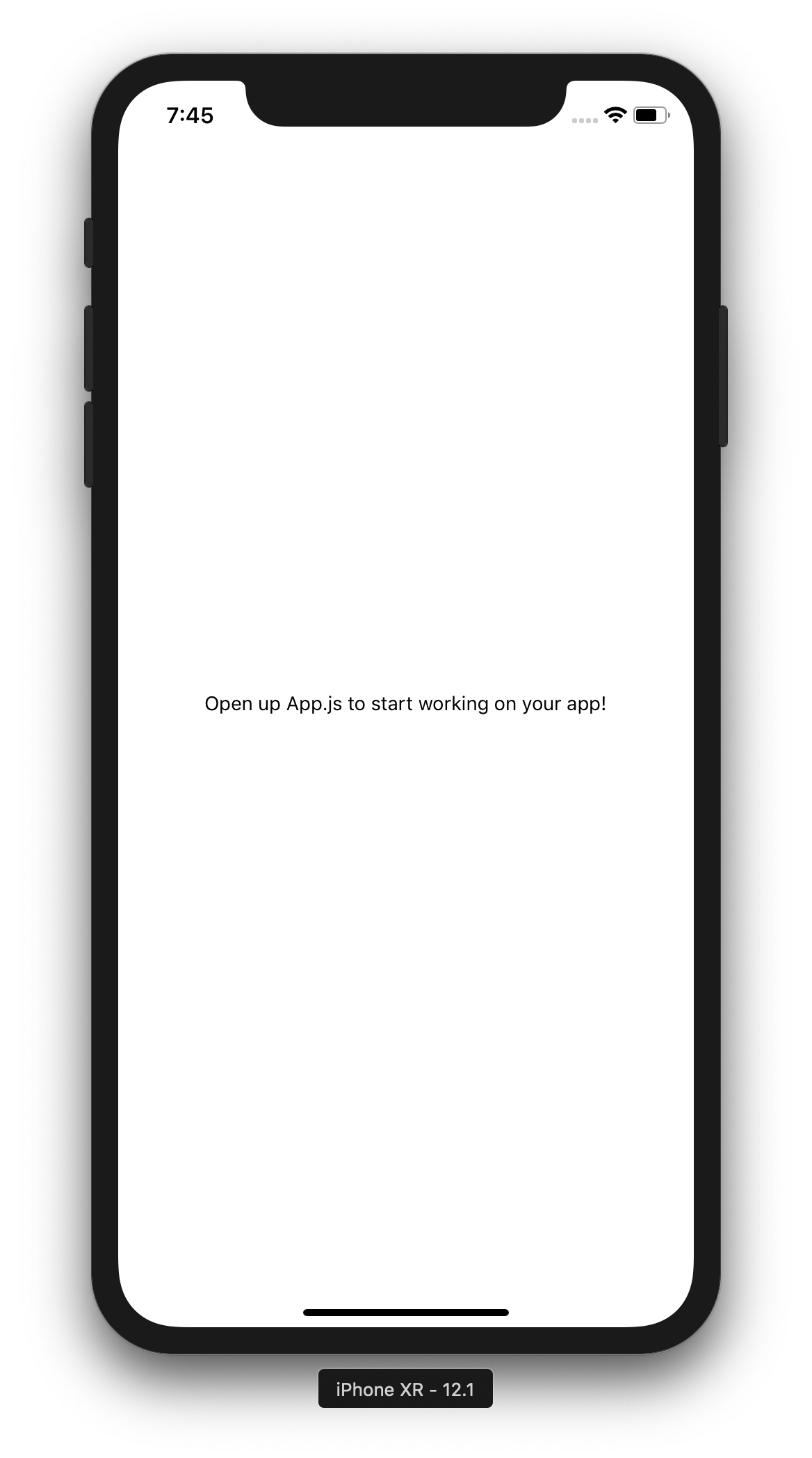Our starting app, as seen in the simulator