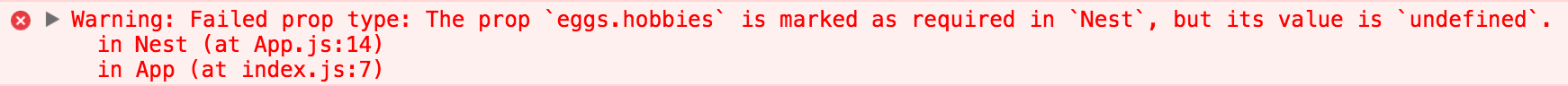 A missing required prop warning in the Chrome console