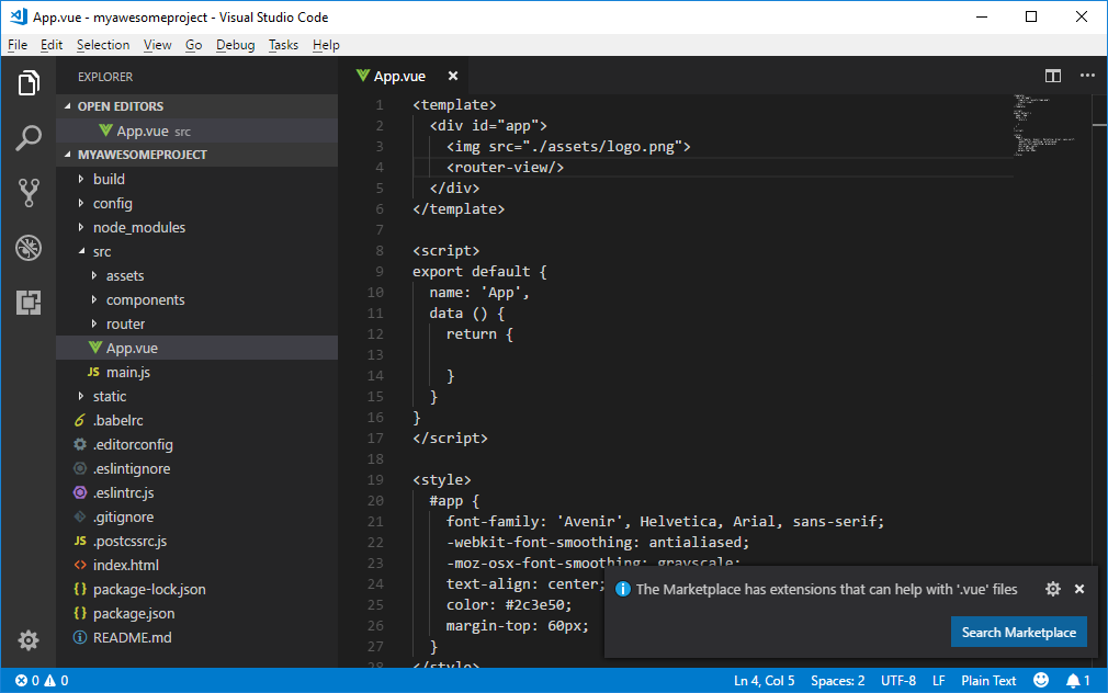 Visual Studio Code without vue extensions