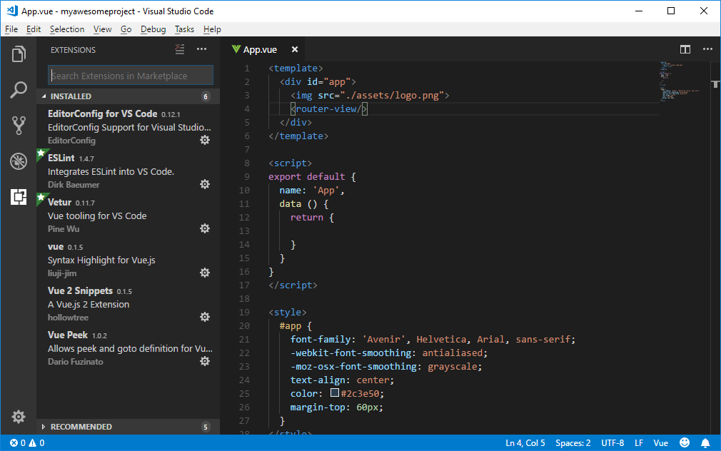Visual Studio Code with vue extensions