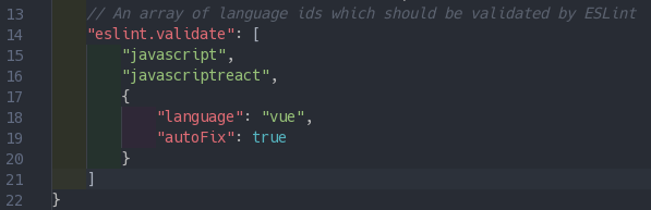 Needed config changes to make VSCode play nice with eslint-plugin-vue.