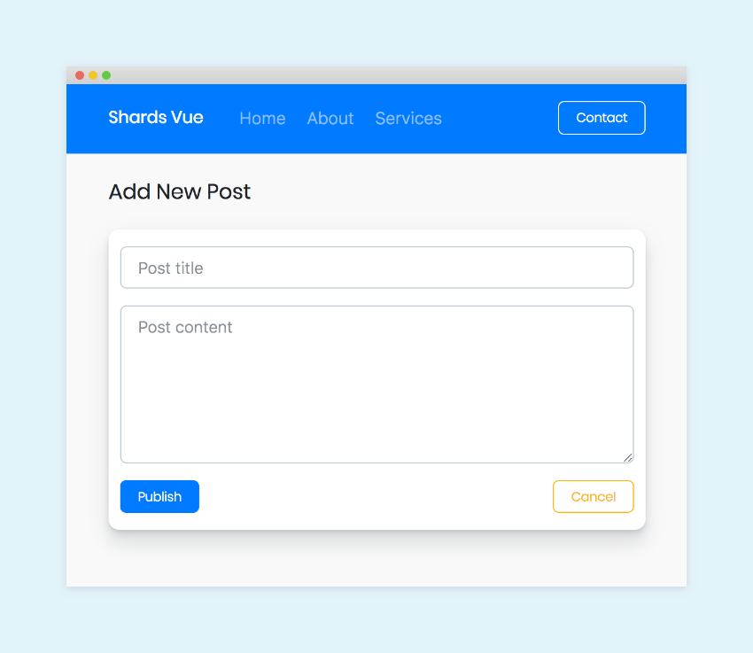 Demo example of a small application created with Shards Vue