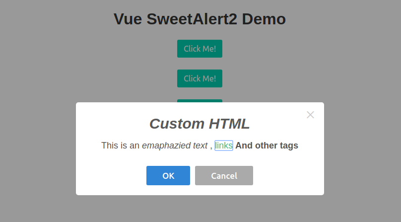 Modal with custom HTML markup